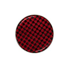 Houndstooth2 Black Marble & Red Leather Hat Clip Ball Marker (4 Pack) by trendistuff