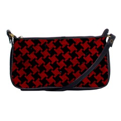 Houndstooth2 Black Marble & Red Leather Shoulder Clutch Bags by trendistuff