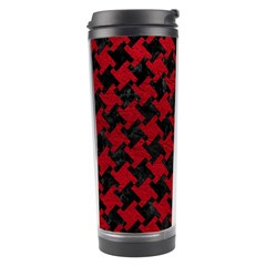 Houndstooth2 Black Marble & Red Leather Travel Tumbler by trendistuff