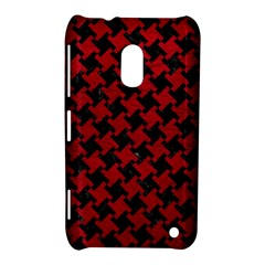 Houndstooth2 Black Marble & Red Leather Nokia Lumia 620 by trendistuff