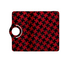 Houndstooth2 Black Marble & Red Leather Kindle Fire Hdx 8 9  Flip 360 Case by trendistuff