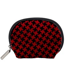 Houndstooth2 Black Marble & Red Leather Accessory Pouches (small)  by trendistuff