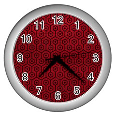 Hexagon1 Black Marble & Red Leather Wall Clocks (silver)  by trendistuff