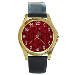Hexagon1 Black Marble & Red Leather Round Gold Metal Watch by trendistuff