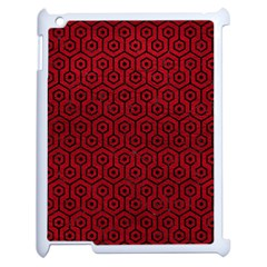 Hexagon1 Black Marble & Red Leather Apple Ipad 2 Case (white) by trendistuff