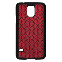Hexagon1 Black Marble & Red Leather Samsung Galaxy S5 Case (black) by trendistuff