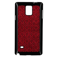 Hexagon1 Black Marble & Red Leather Samsung Galaxy Note 4 Case (black) by trendistuff