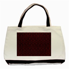 Hexagon1 Black Marble & Red Leather (r) Basic Tote Bag by trendistuff