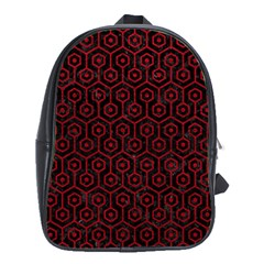 Hexagon1 Black Marble & Red Leather (r) School Bag (xl) by trendistuff