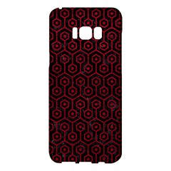 Hexagon1 Black Marble & Red Leather (r) Samsung Galaxy S8 Plus Hardshell Case