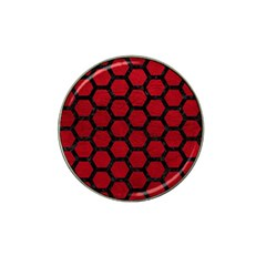 Hexagon2 Black Marble & Red Leather Hat Clip Ball Marker (10 Pack) by trendistuff