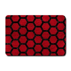 Hexagon2 Black Marble & Red Leather Small Doormat  by trendistuff