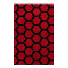 Hexagon2 Black Marble & Red Leather Shower Curtain 48  X 72  (small)  by trendistuff