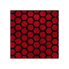 Hexagon2 Black Marble & Red Leather Acrylic Tangram Puzzle (4  X 4 ) by trendistuff
