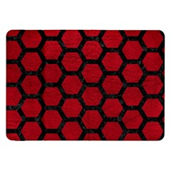 Hexagon2 Black Marble & Red Leather Samsung Galaxy Tab 8 9  P7300 Flip Case by trendistuff