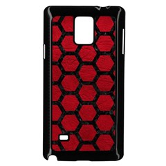 Hexagon2 Black Marble & Red Leather Samsung Galaxy Note 4 Case (black) by trendistuff