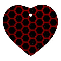 Hexagon2 Black Marble & Red Leather (r) Ornament (heart) by trendistuff