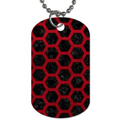 Hexagon2 Black Marble & Red Leather (r) Dog Tag (two Sides) by trendistuff