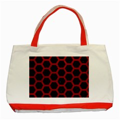Hexagon2 Black Marble & Red Leather (r) Classic Tote Bag (red) by trendistuff