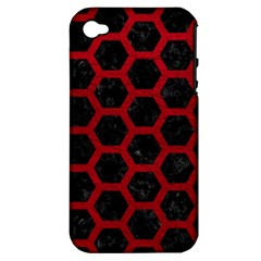 Hexagon2 Black Marble & Red Leather (r) Apple Iphone 4/4s Hardshell Case (pc+silicone) by trendistuff
