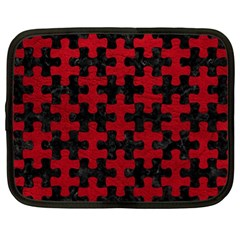 Puzzle1 Black Marble & Red Leather Netbook Case (xl)  by trendistuff