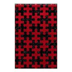 Puzzle1 Black Marble & Red Leather Shower Curtain 48  X 72  (small)  by trendistuff