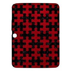 Puzzle1 Black Marble & Red Leather Samsung Galaxy Tab 3 (10 1 ) P5200 Hardshell Case  by trendistuff