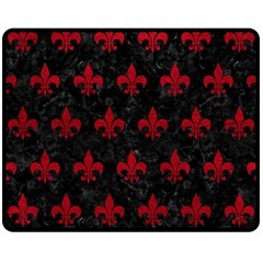 Royal1 Black Marble & Red Leather Double Sided Fleece Blanket (medium)  by trendistuff