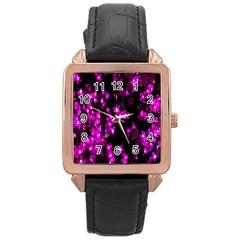 Abstract Background Purple Bright Rose Gold Leather Watch  by Onesevenart