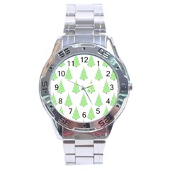 Background Christmas Christmas Tree Stainless Steel Analogue Watch by Onesevenart