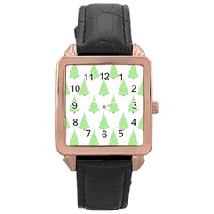 Background Christmas Christmas Tree Rose Gold Leather Watch  by Onesevenart