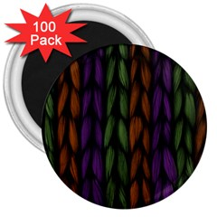 Background Weave Plait Purple 3  Magnets (100 Pack) by Onesevenart