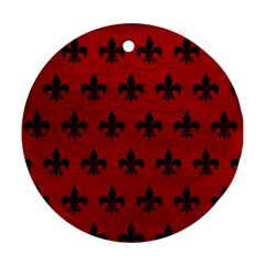 Royal1 Black Marble & Red Leather (r) Round Ornament (two Sides) by trendistuff