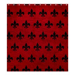 Royal1 Black Marble & Red Leather (r) Shower Curtain 66  X 72  (large)  by trendistuff