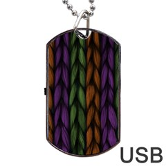 Background Weave Plait Purple Dog Tag Usb Flash (one Side) by Onesevenart