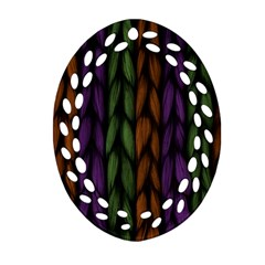 Background Weave Plait Purple Oval Filigree Ornament (two Sides) by Onesevenart