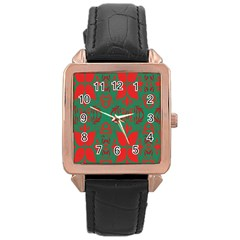 Christmas Background Rose Gold Leather Watch  by Onesevenart