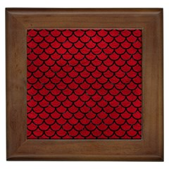 Scales1 Black Marble & Red Leather Framed Tiles by trendistuff