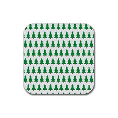Christmas Background Christmas Tree Rubber Square Coaster (4 Pack)  by Onesevenart