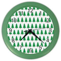 Christmas Background Christmas Tree Color Wall Clocks by Onesevenart