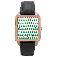 Christmas Background Christmas Tree Rose Gold Leather Watch  by Onesevenart