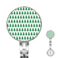 Christmas Background Christmas Tree Stainless Steel Nurses Watch by Onesevenart