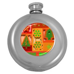 Christmas Design Seamless Pattern Round Hip Flask (5 Oz) by Onesevenart