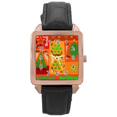 Christmas Design Seamless Pattern Rose Gold Leather Watch  by Onesevenart