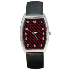 Scales1 Black Marble & Red Leather (r) Barrel Style Metal Watch by trendistuff