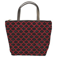 Scales1 Black Marble & Red Leather (r) Bucket Bags by trendistuff
