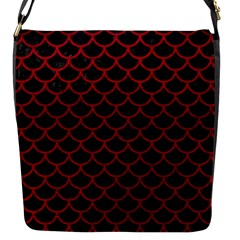 Scales1 Black Marble & Red Leather (r) Flap Messenger Bag (s) by trendistuff
