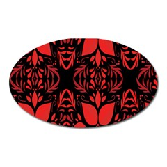 Christmas Red And Black Background Oval Magnet by Onesevenart