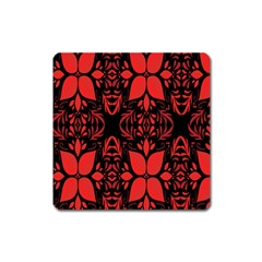 Christmas Red And Black Background Square Magnet by Onesevenart