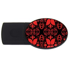Christmas Red And Black Background Usb Flash Drive Oval (2 Gb) by Onesevenart